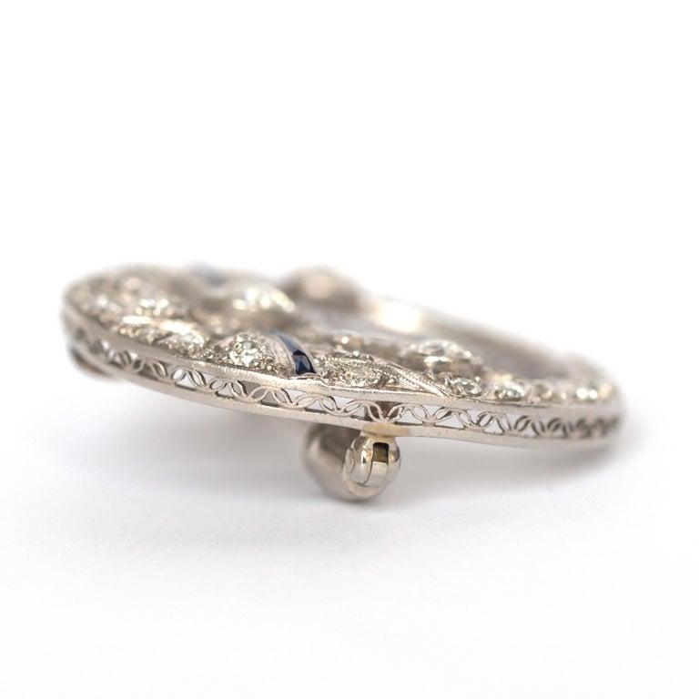 Art Deco .40 Carat Diamond Platinum Brooch For Sale