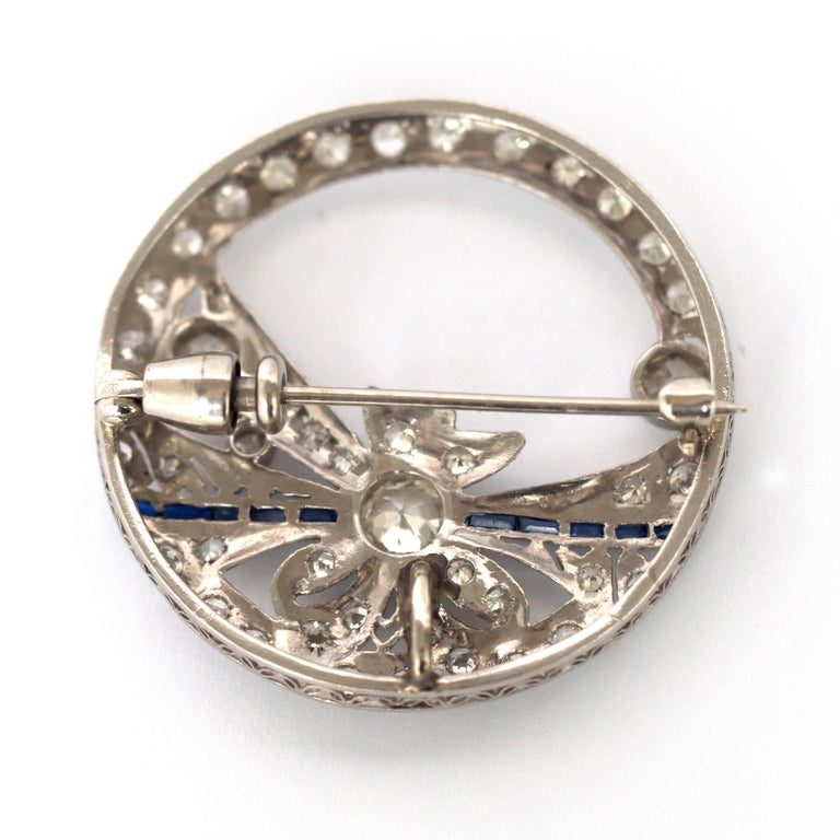 .40 Carat Diamond Platinum Brooch In Good Condition For Sale In New York, NY