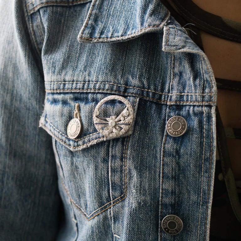 .40 Carat Diamond Platinum Brooch For Sale 1