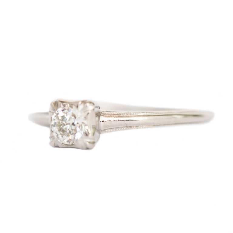 Ring Size: 8.25 Metal Type: Platinum Weight: 3.2 grams  Center Diamond Details Shape: Antique Cushion Carat Weight: .40 carat Color: I Clarity: VS   Finger to Top of Stone Measurement: 5.44mm
