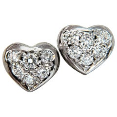 .40 Carat Diamonds Heart Cluster Earrings 14 Karat Stud