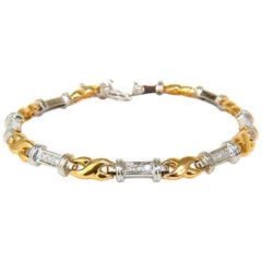 ".40 Carat Diamonds Single Bar ""X"" Linked Two-Toned Bracelet 14 Karat"