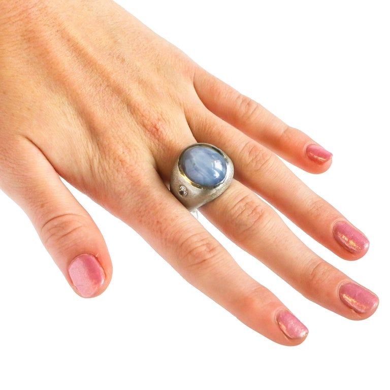 Women's or Men's 40+ Carat Double Star Sapphire Ring For Sale