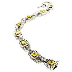 4.0 Carat Fancy Intense Yellow or VS1 Diamond Gold Link Bracelet