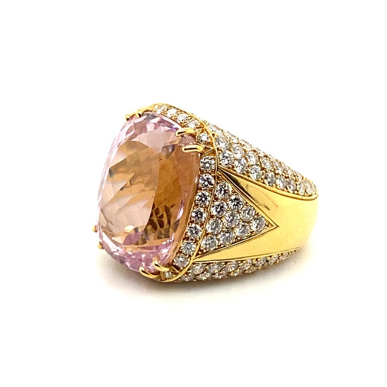 40 Carat Kunzite Ring with 8 Carats of Diamonds For Sale 5