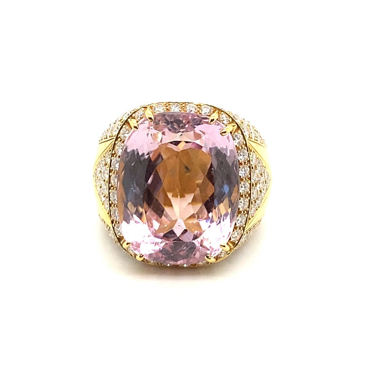 40 Carat Kunzite Ring with 8 Carats of Diamonds For Sale 6