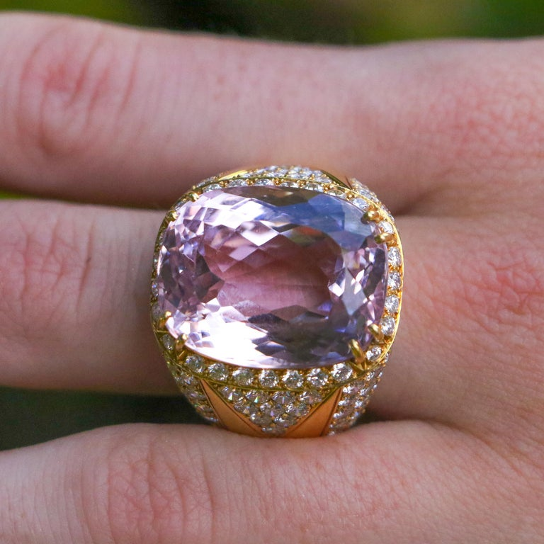 40 Carat Kunzite Ring with 8 Carats of Diamonds For Sale 7