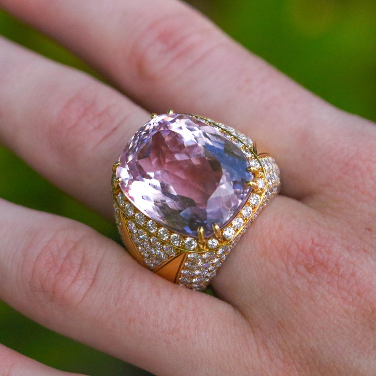 40 Carat Kunzite Ring with 8 Carats of Diamonds For Sale 8