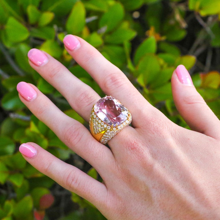 Cushion Cut 40 Carat Kunzite Ring with 8 Carats of Diamonds For Sale