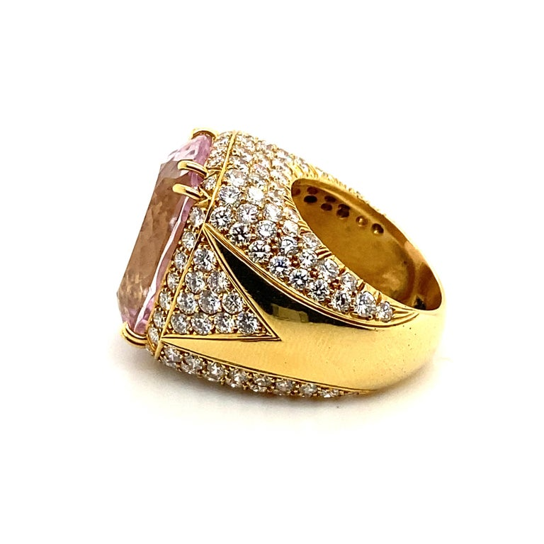 40 Carat Kunzite Ring with 8 Carats of Diamonds For Sale 4