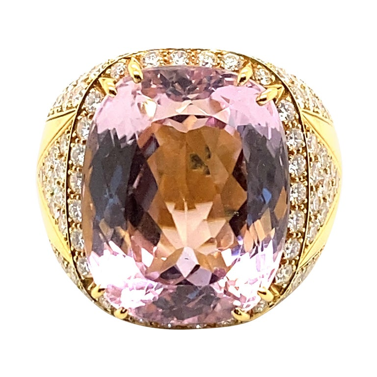 40 Carat Kunzite Ring with 8 Carats of Diamonds For Sale