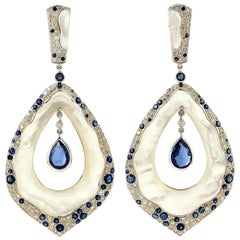 4.0 Carat Kyanite Mother of Pearl Sapphire Diamond 18 Karat Gold Earrings