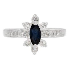 .40 Carat Marquise Sapphire Diamond Halo White Gold Engagement Ring