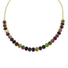 40 Carat Mixed Garnet 18 Karat Yellow Gold Necklace