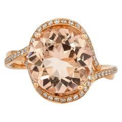 4.0 Carat Morganite and Diamond Ring in 18 Karat Rose Gold