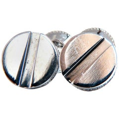 .40 Carat Natural Diamonds Mod- Goth Deco Flat Screw Stud Earrings 14 Karat
