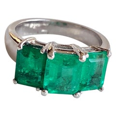 4.0 Carat Platinum Estate Three-Stone Natural Colombian Emerald Ring