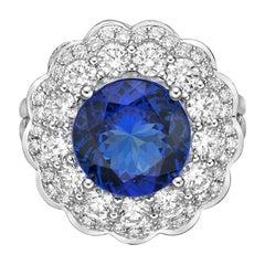 4.0 Carat Tanzanite and White Diamond Ring in 18 Karat White Gold