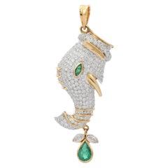 4.0 Carats Diamond Emerald 18 Karat Gold Elephant Pendant Necklace