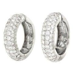4.0 Carats Total Diamond Set Gold Hoops