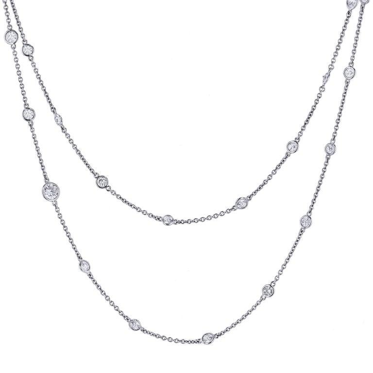 Modern Bezel Set 5.13 Total Carat Diamond Necklace by the Yard Platinum For Sale