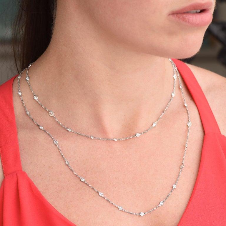 Round Cut Bezel Set 5.13 Total Carat Diamond Necklace by the Yard Platinum For Sale