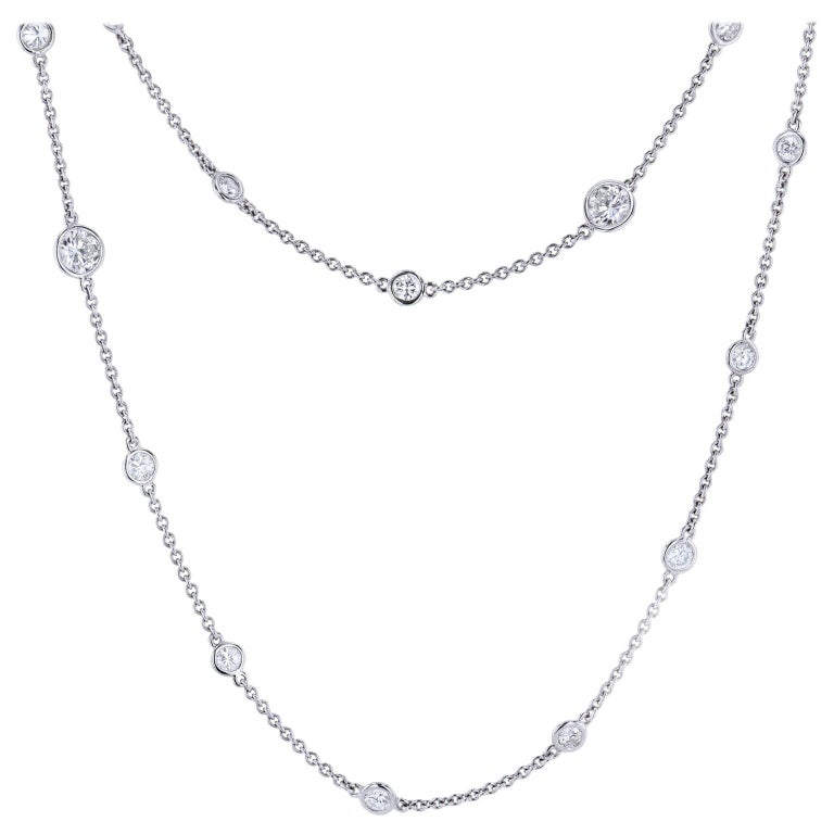 Bezel Set 5.13 Total Carat Diamond Necklace by the Yard Platinum For Sale