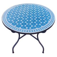 Moroccan Mosaic Table, Turquoise / White Rafraf