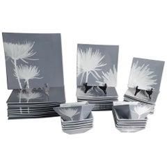 40-Piece Set of Dinnerware CB2 Modern Featuring Mums, 40-Piece Set