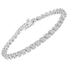 40 Round Diamond 14-15 Pointer Each Tennis Bracelet in 14 K White Gold 5.5 Carat