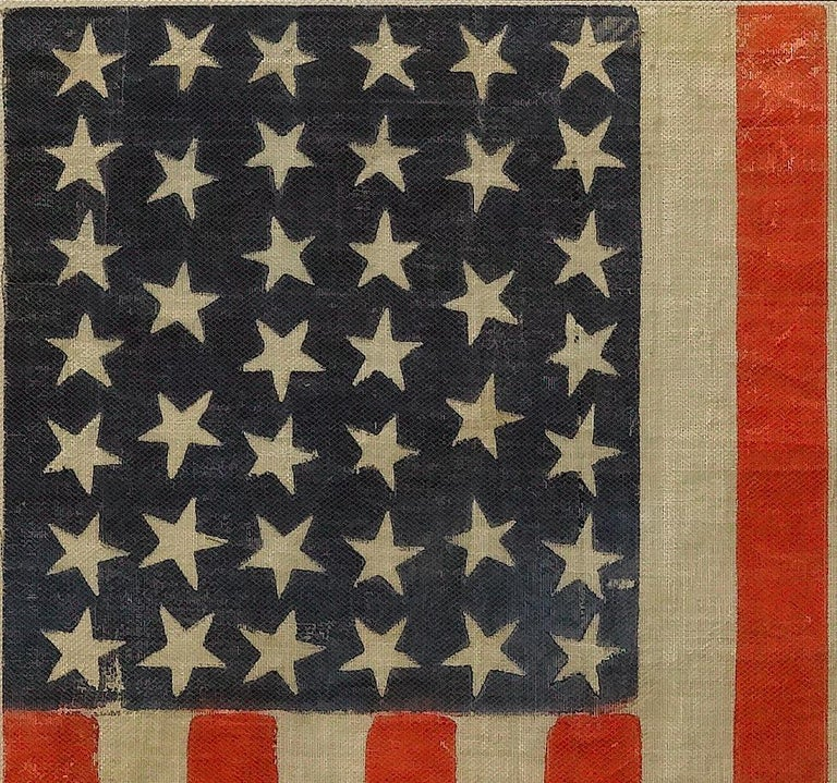 40-Star Antique Parade Flag Printed on Muslin, circa 1889 In Good Condition For Sale In Colorado Springs, CO