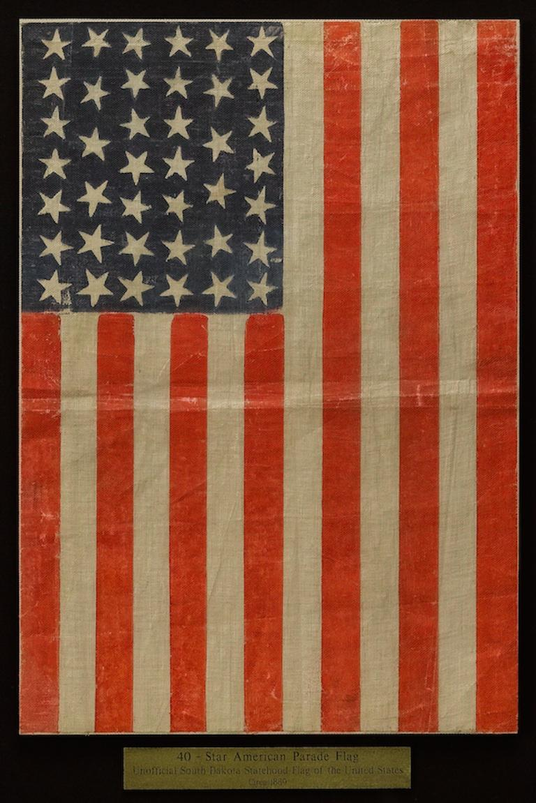 Late 19th Century 40-Star Antique Parade Flag Printed on Muslin, circa 1889 For Sale