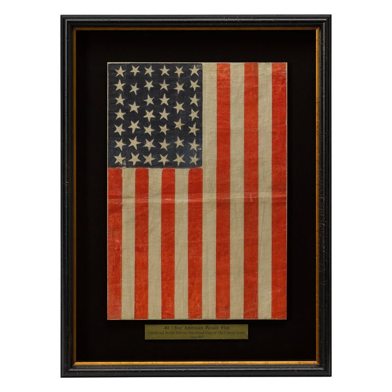 40-Star Antique Parade Flag Printed on Muslin, circa 1889 For Sale