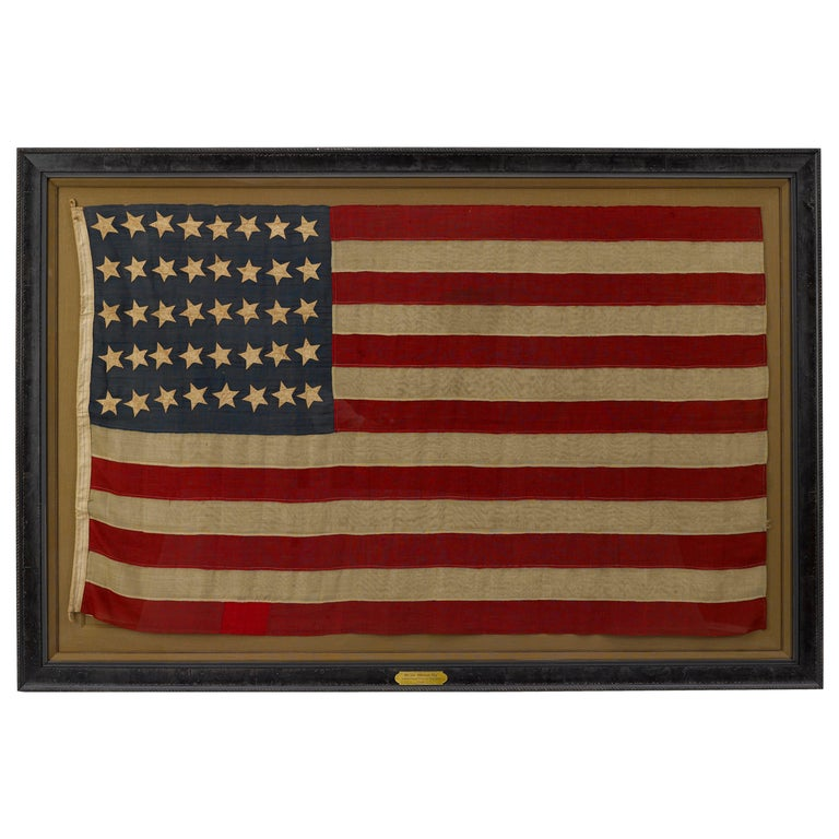 """40-Star """"Unofficial"""" Whimsical Star Pattern American Flag, circa 1889 For Sale"""