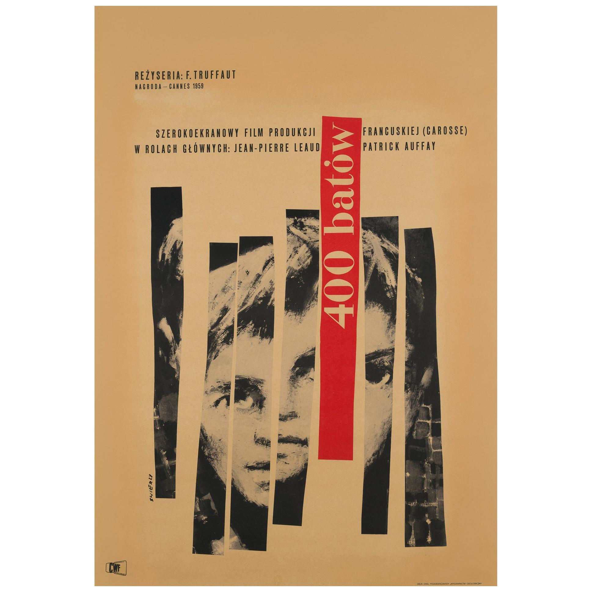 400 Blows 1960 Polish Film Poster, Waldemar Swierzy