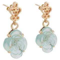 4.00 Carat Aquamarine Yellow Gold Flower Dangle Earrings