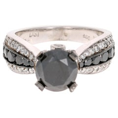 4.00 Carat Black and White Diamond 14 Karat White Gold Engagement Ring