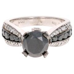 4.00 Carat Black and White Diamond 14 Karat White Gold Engagement Ring
