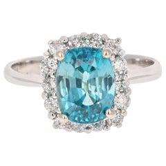 4.00 Carat Blue Zircon Diamond 14 Karat White Gold Ring