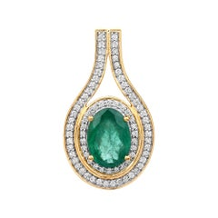 4.00 Carat Brazilian Emerald and White Diamond 18 Karat Yellow Gold Pendant