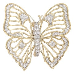 4.00 Carat Butterfly Diamond Brooch in 18 Karat Gold