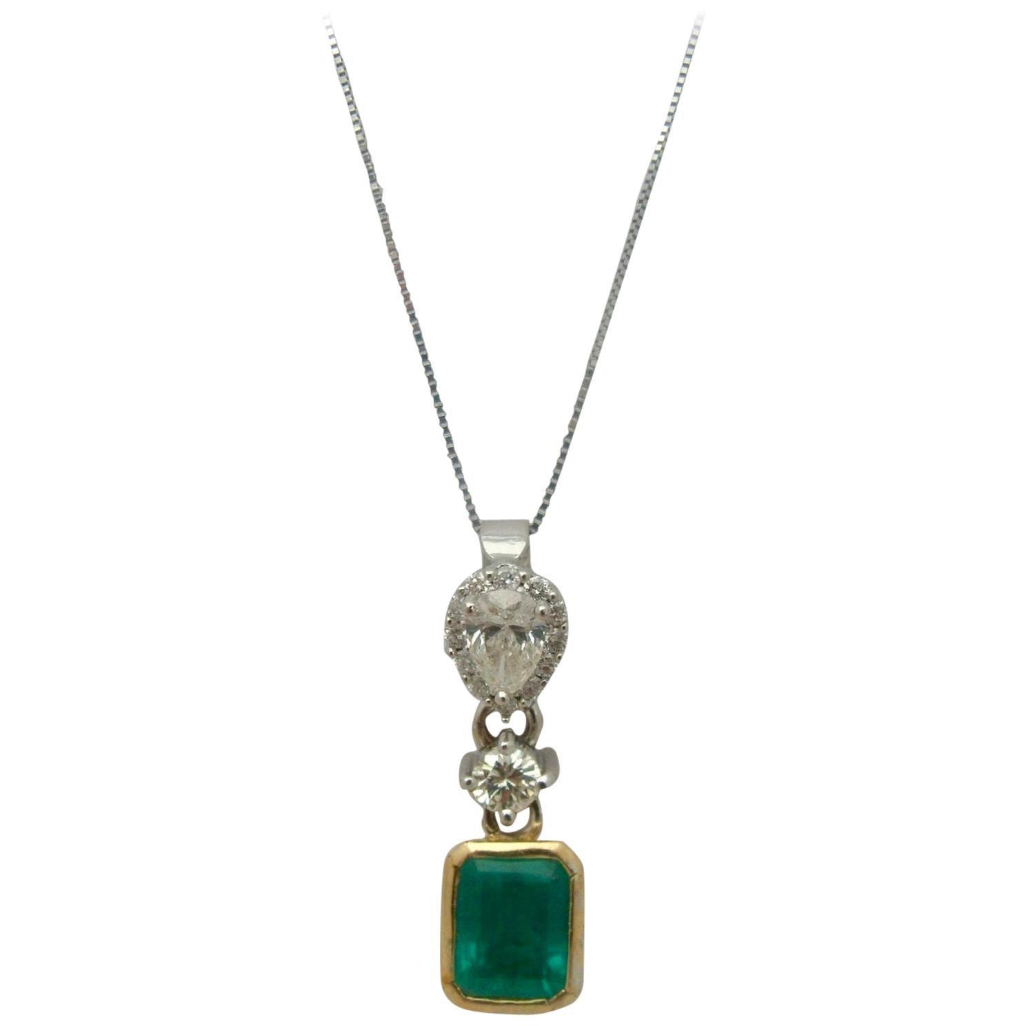 4.00 Carat Colombian Emerald and Diamond Pendant 18 Karat