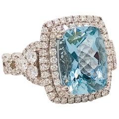 4.00 Carat Cushion Aquamarine and 1.25 Carat Diamond Ring in 18 Karat White Gold