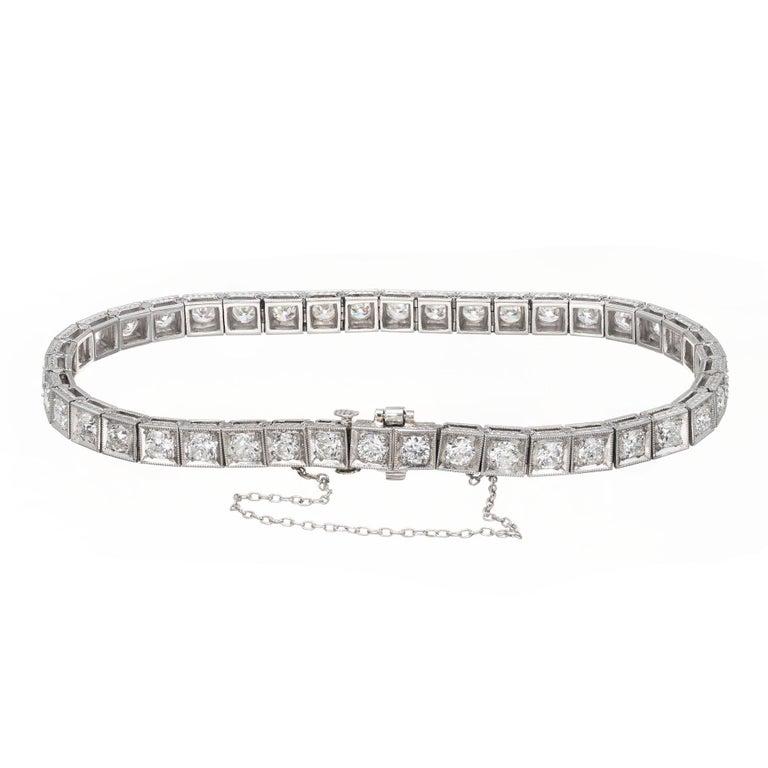 Old European Cut 4.00 Carat Diamond Platinum Tennis Bracelet For Sale
