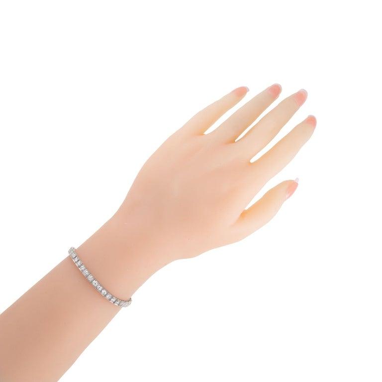 4.00 Carat Diamond Platinum Tennis Bracelet In Good Condition For Sale In Stamford, CT