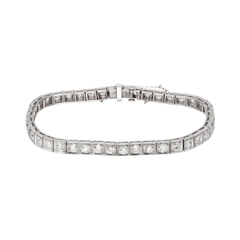 4.00 Carat Diamond Platinum Tennis Bracelet For Sale