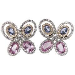 4.00 Carat Diamond & Sapphire Butterfly Stud Earrings in 14k White & Yellow Gold