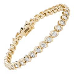 4.00 Carat Diamond Tennis Bracelet in 14 Karat Yellow Gold
