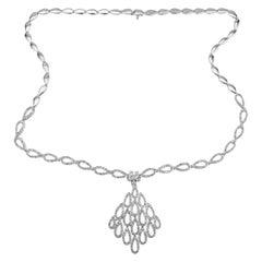 4.00 Carat Diamond White Gold Tear Drop Link Pendant Necklace