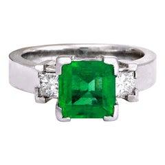 4.00 Carat Emerald 18 Karat Solid White Gold Diamond Ring